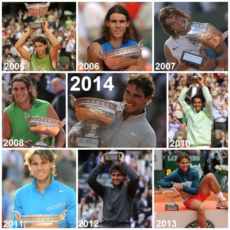 Rafael Nadal et ses neuf trophées
